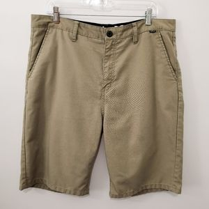 Hurley Tan Flat Front Casual Shorts Size 36